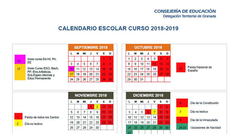 Calendario Escolar De Granada Y Provincia Y Del Resto De